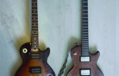 BEFORE Broken Epiphone LP-100 | AFTER - Charred wood custom guitar